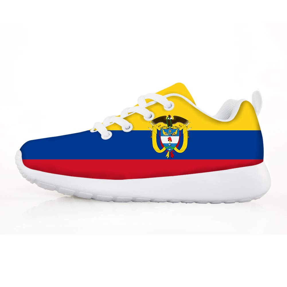Boys Girls Casual Lace-up Sneakers Running Shoes Colombia Flag National Emblem