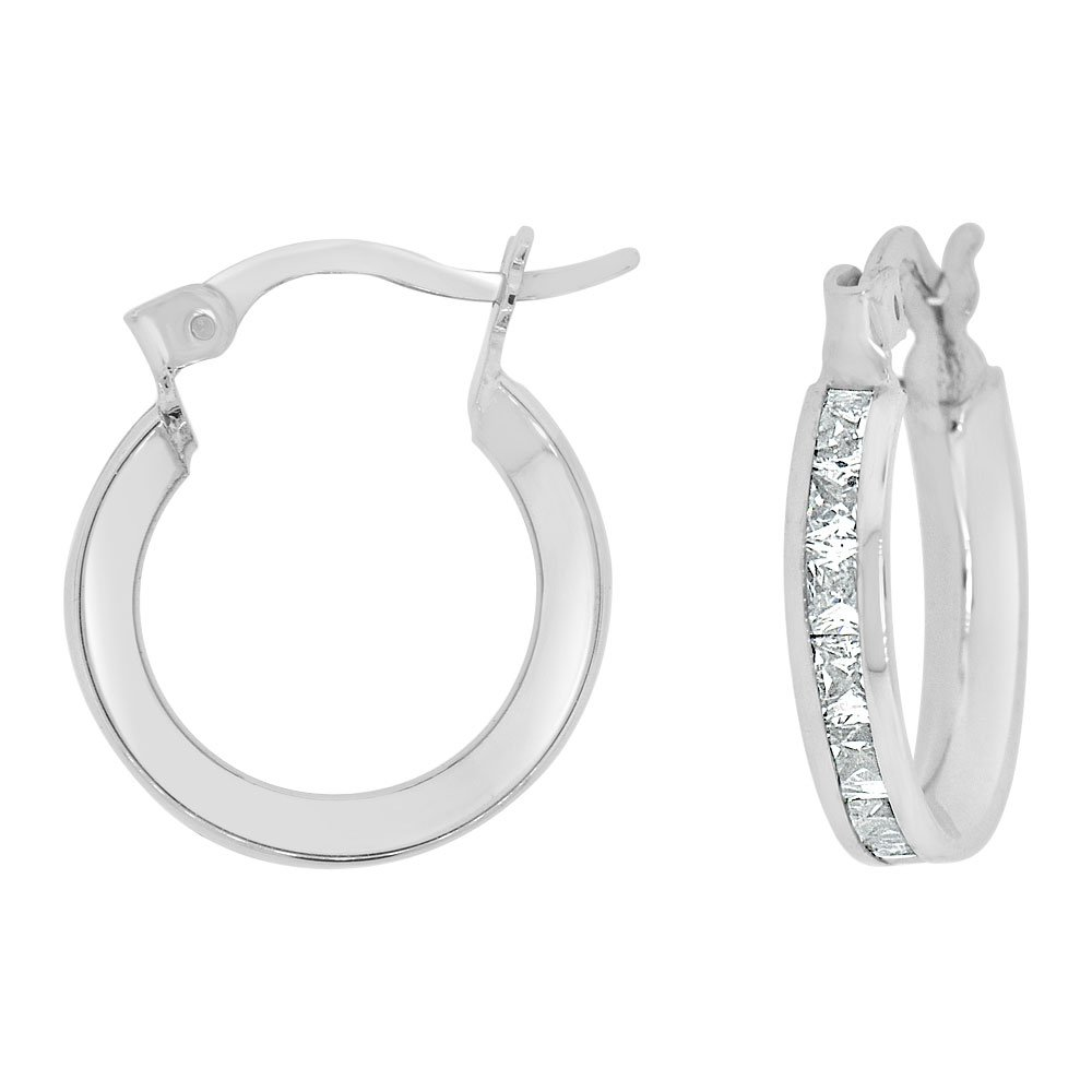 14k Gold White Rhodium, Round 3mm Wide Channel Set Created CZ Earring 12mm Inner Snap Down by GiveMeGold