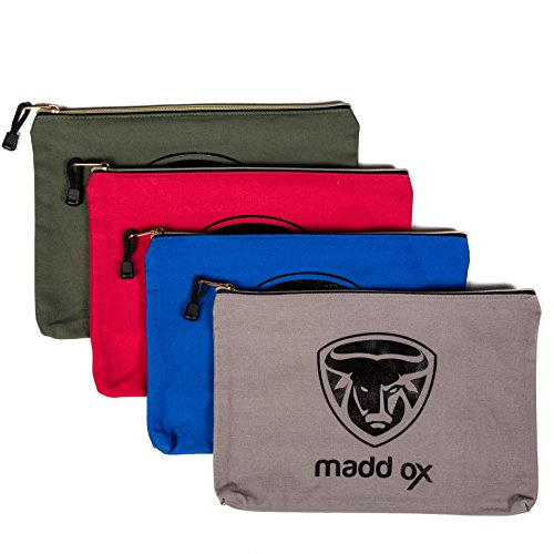 Canvas Zipper Tool Pouch Utility Bag 4 Pack - 16 oz. Heavy Duty Zippered Water Resistant - Multi-Purpose Storage Organizer Set Ideal for Mechanic, Electrician, Carpenter, Construction and Handyman by madd ox