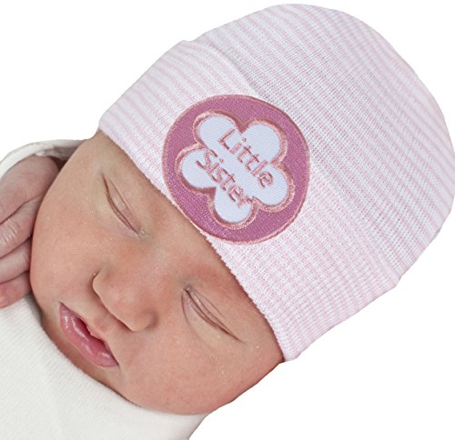 a1c993e9e7c Melondipity Pink   White Striped Little Sister Newborn Girl Hospital Hat