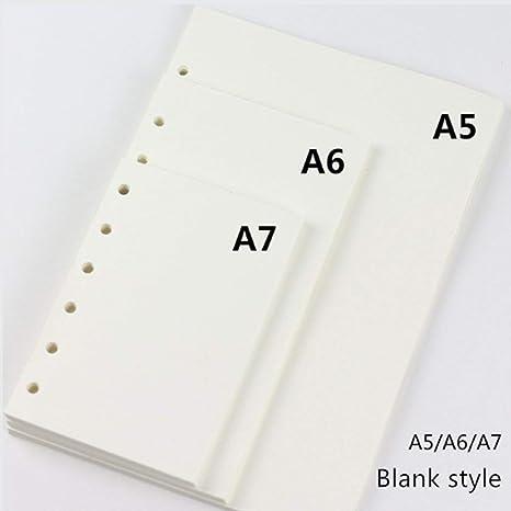 Carpeta de recambio para cuadernos A7, 6 anillas, papel de ...
