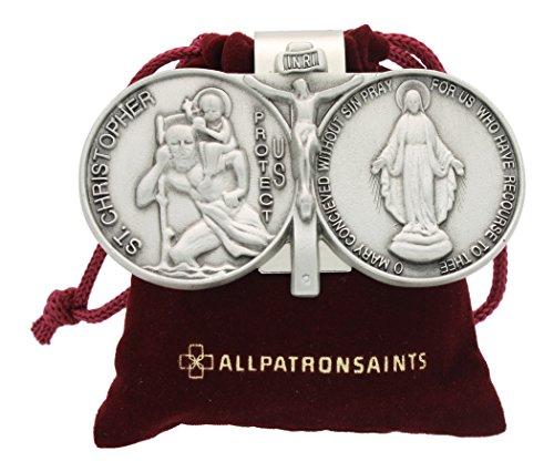 St Christopher Miraculous Auto Visor Clip