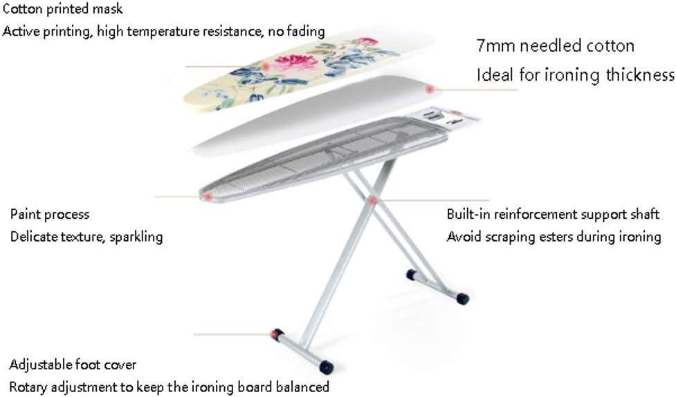 Planche à repasser pliante est résistante à la température et n'est pas fanée Hauteur réglable, cadre en fer pliable en X (Color : White) Blue