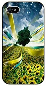 Fantasy tree and sunflower - iPhone 4 / 4s black plastic case / Flowers and Nature, floral, flower