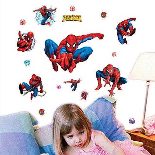 Fange DIY Removable Super Hero Spiderman Art Mural Vinyl Waterproof Wall Stickers Kids Room Decor Nursery Decal Sticker Wallpaper 27.5''x19.6''