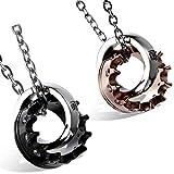 Flongo Men's Womens 2PCS Stainelss Steel Simple Queen King Crown CZ Valentine Pendant Necklace