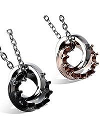 Flongo Men's Womens Stainelss Steel Simple Queen King Crown CZ Valentine Pendant Necklace