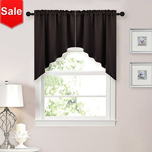 NICETOWN Home Fashion Kitchen Tier Curtains- Tailored Scalloped Valance/Swags (2 Panels, 36 X 36 Each Panel,Brown)