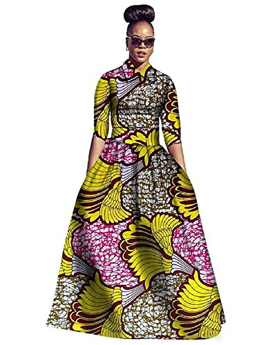 Womens African Dress Maxi Dashiki Print Fit and Flare Half Sleeve Expansion 2 Pcs Skirt with Pockets Yellow