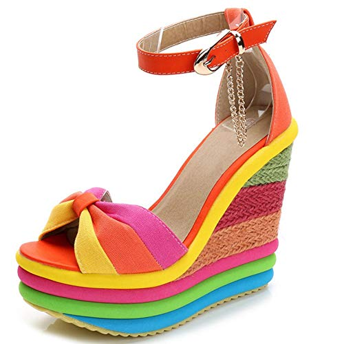 Vimisaoi Women's Fashion Peep Toe Chunky Platform Wedge Sandals, Ankle Strappy High Heel Rainbow Color Party Dress Summer - Platform Strappy Block Color