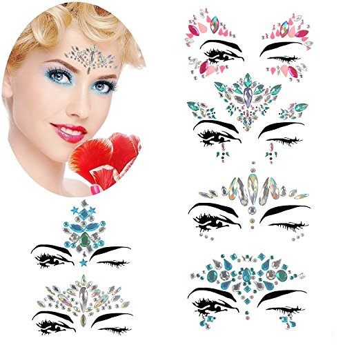 Mermaid Face Gems Sticker Bindi Temporary Glitter Rhinestone Face Chest Body Eye Jewel Tattoo Rave Festival Makeup Stickers for Music Concert Cosplay Party Halloween Christmas by PJYU -