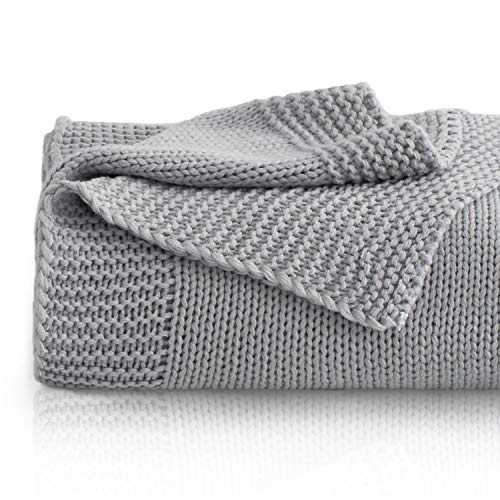 Bedsure Knitted Throw Blanket for Sofa and Couch, Lightweight, Soft & Cozy Knit Throws - Grey, 50 x 60 inches