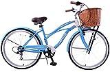 CLASSIC LADIES LIFESTYLE USA COMFORT BEACH STYLE CRUISER 26' WHEEL BIKE WICKER BASKET & MUDGUARDS 19' FRAME BLUE