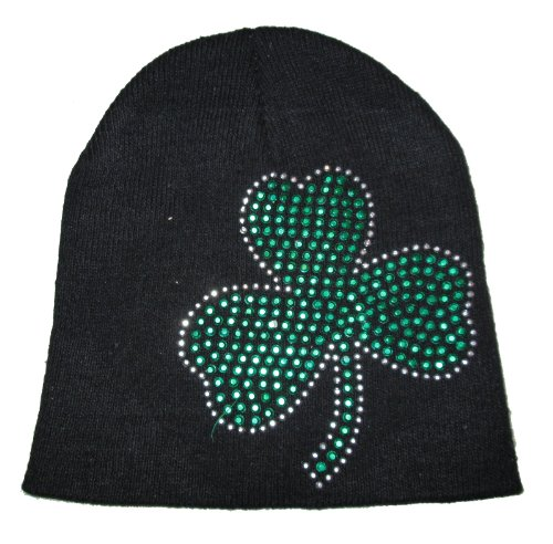 St. Patricks Day Black Knit Beanie Hat with Green Rhinestone Shamrock Green Day Black Beanie