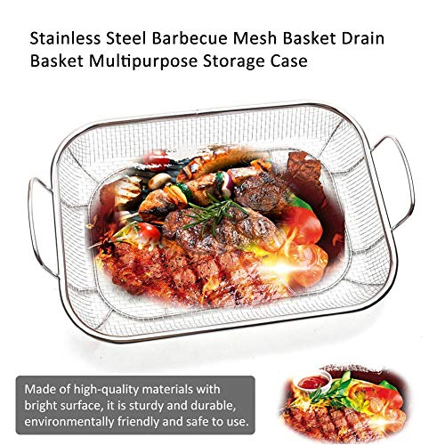 Stainless Steel BBQ Grill Basket Barbecue Mesh Grilling Tray Grill Pan Net for Meat Fish Vegetable Shrimp Seafood Best Stainless Steel Square BBQ, Approved Vegetable and Grilling Basket Fish Grillin