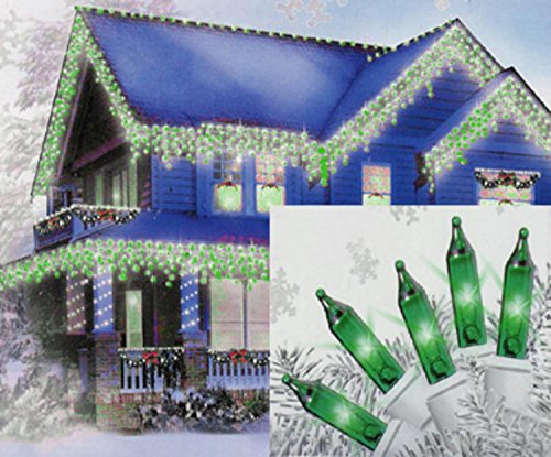 Sienna Set of 100 Green Mini Icicle Christmas Lights - White Wire Green Icicle Lights