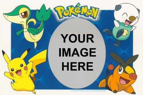 1/4 Sheet ~ Pokemon Photo Frame Birthday ~ Edible Image Cake/Cupcake (Pokemon Photo)