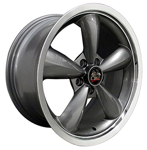 18-inch Fits Ford - 2005 Mustang Bullitt Deep Dish Aftermarket Wheel - Gunmetal Machined Lip 18x9