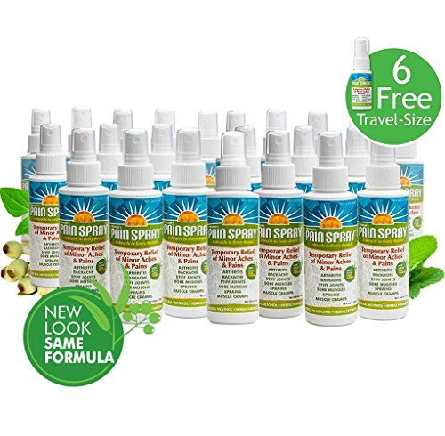 Premiere's Pain Spray Mist 24-Pack (Includes 6 Free Travel Bottles), Natural Pain Relief Spray for Swollen Joints, Spray on Medicine for Soreness after Workout, Bruise Pain Relief Spray
