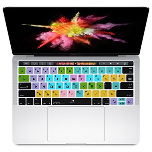HRH Avid Media Composer Shortcuts Hotkey Silicone Keyboard Cover Skin for MacBook New Pro with Touch Bar 13 Inch and 15 Inch(A2159/A1989/A1706,A1990/A1707) 2019 2018 2016 2017 Release US Version