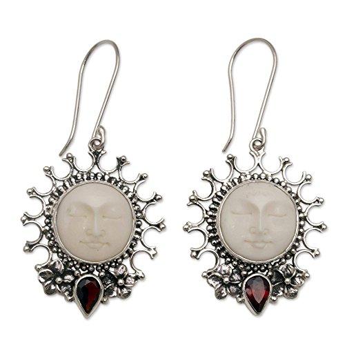 - NOVICA Garnet .925 Sterling Silver Cow Bone Dangle Earrings, Sunny Soul'