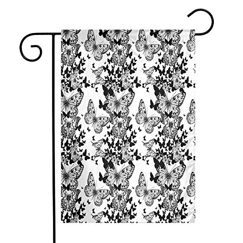 Mannwarehouse Black and White Garden Flag Starry Night Drifter Butterfly Silhouettes Monochrome Sketch Style Fauna Premium Material W12 x L18 Black White