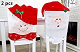 King&Pig 2pcs Christmas seat covers Model Mr & Mrs Santa Claus Cute Chair Back Seat Covers Dinner Decor Christmas Room Decoration Dining Chair Slipcovers (2)