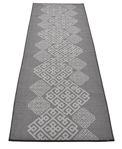 Custom Runner Italian Meander Roll Runner 26 Inch Wide x Your Length Size Choice Slip Skid Resistant Rubber Back Color Options Available (Grey, 25 ft x 26 in) by RugStylesOnline