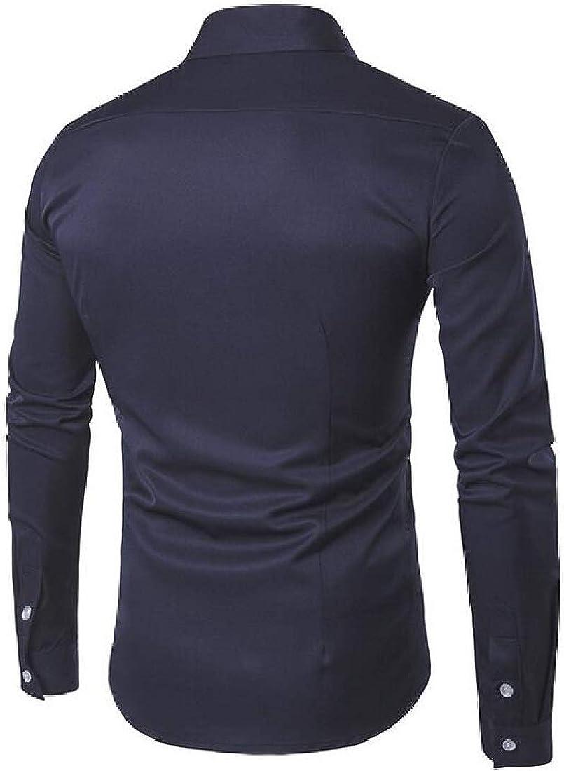 Jofemuho Mens Slim Business Long Sleeve Button Up Casual Dress Shirts