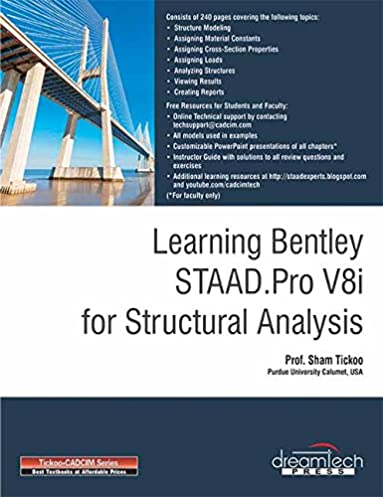buy learning bentley staad pro v8i for structural analysis book rh amazon in Student Exercise Staad.pro V8 Staad.pro Steel Design