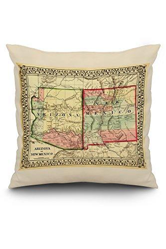 Arizona and New Mexico - (1867) - Panoramic Map (20x20 Spun Polyester Pillow, White Border)