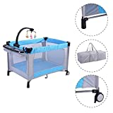 MD Group Baby Playpen Cozy Foldable Bassinet Light Blue Mesh with Storage Pocket