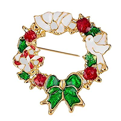 Top YAZILIND Fashion Christmas Color Wreaths Alloy Brooch Pin Corsage for Women Girls Accessories free shipping