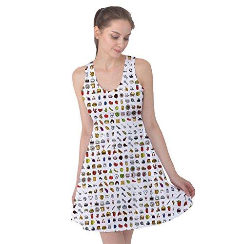 PattyPattern Womens Breakfast Mini Icon Food Symbol Collection Pattern Reversible Sleeveless Dress (M, White)