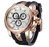 TOPCHANCES Men's Wrist Watches Sports Quartz Watch Round Dial Rubber Watch Band (Gold)