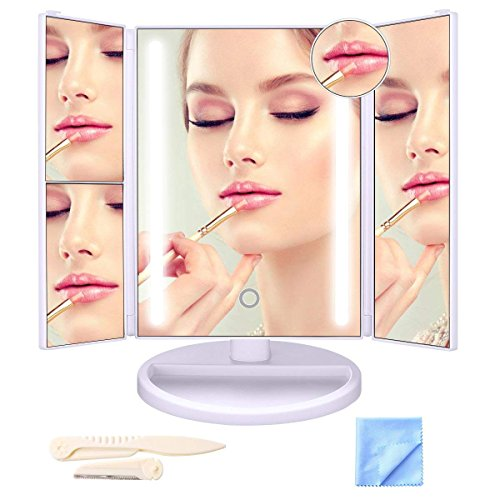 LEPO Makeup Vanity Mirror with Touch Screen, 10x/3x/2x/1x Magnification LED Makeup Mirror with 24 LED Lights, 180° Free Rotation, High Definition Cosmetic Mirror by LEPO