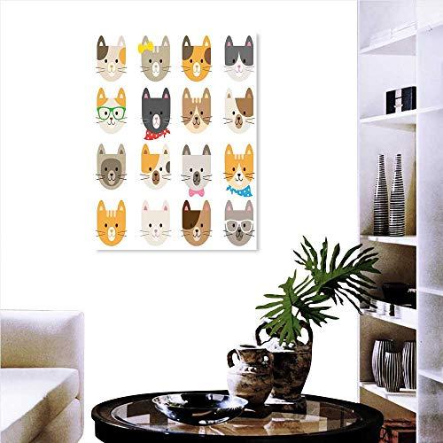 Stevenhome Animals Wall Paintings Cats Costume Glasses Bow Tie Bandana Cartoon Artwork Craft Pattern Print Print On Canvas Wall Decor 32