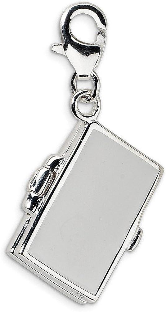Beautiful Sterling Silver RH 3-D Enameled Notebook Laptop w//Lobster Clasp Charm