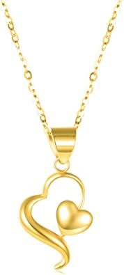 14k Yellow Gold Heart Pendant Necklace 18 inches