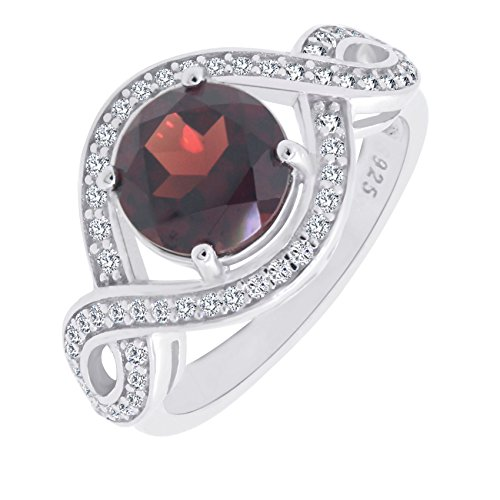 Ct Gemstone (Sterling Silver Round Cut Genuine Natural Garnet Criss Cross Ring (2.5 C.T.T.W))