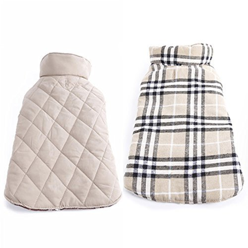 REXSONN Pet Dog cats Cozy Windproof Jacket Winter Warm Apparel Grid Plaid Reversible Coat Coats for small Puppy medium large dogs - Winter Jackets For Dogs