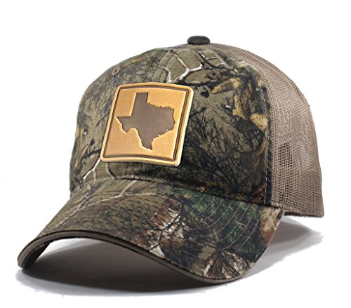Homeland Tees Men's Texas Leather Patch Camo Trucker Hat - Realtree
