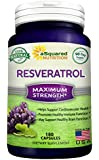100% Pure Resveratrol - 1000mg Max Strength (180 Capsules) Antioxidant Supplement Extract, High Potency Natural Trans-Resveratrol Pills for Heart Health & Weight Loss, Trans Resveratrol for Anti-Aging