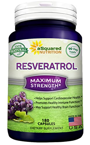 100% Pure Resveratrol – 1000mg Per Serving Max Strength (180 Capsules) Antioxidant Supplement Extract, Natural Trans-Resveratrol Pills for Heart Health & Weight Loss, Trans Resveratrol for Anti-Aging