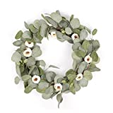 FAVOWREATH Vitality Series FAVO-W26 Handmade 16 inch Wild Flowers And Mini Tea Bud Dry Branch Wreath For Spring/Summer/Fall Festival Celebration Front Home Door/Fireplace Laurel/Eucalyptu Hanger Decor