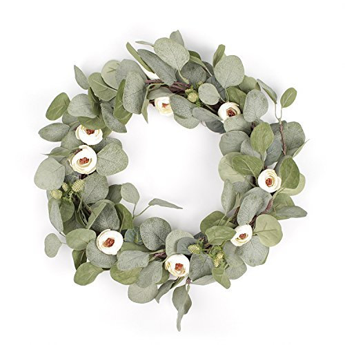 FAVOWREATH 2018 Vitality Series FAVO-W26 Handmade 16 inch Wild Flowers And Mini Tea Bud Grapevine Wreath For Spring/Summer/Fall Festival Front Home Door/Fireplace Laurel/Eucalyptu Leaf Hanger ()