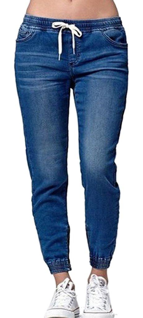 Women's Juniors Casual Soft Sweatpants Distressed Twill Jeans Jogger Pants Blue,US 0-2