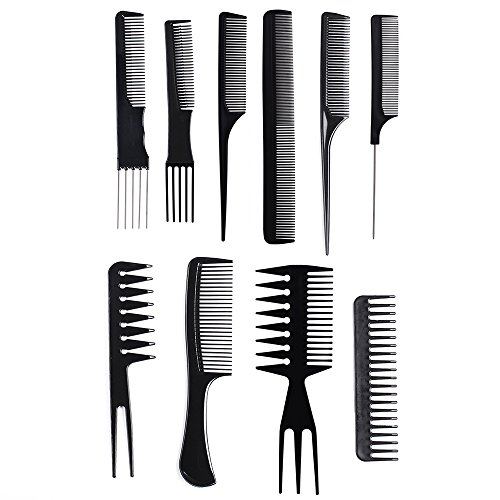 10 Pcs Professional Styling Comb Set Salon Hairdressing Styling Tool Hair Cutting Comb Kit Great For All Hair Types Styles