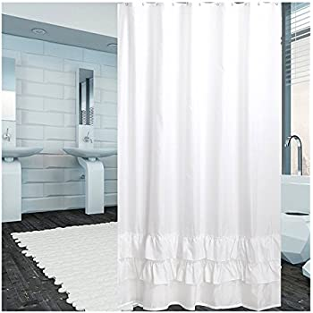 Hot Sale Low Profile Luxury Pure Flax Linen Shower Curtain With Pleated Bottom In White