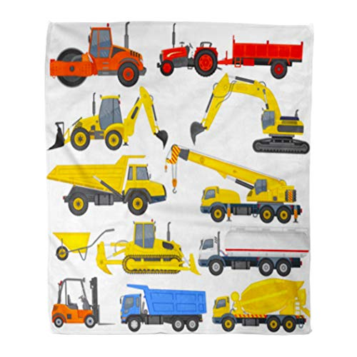 Golee Throw Blanket Vehicle of Industrial Transportation Machine Construction Equipment Digger Truck Work 50x60 Inches Warm Fuzzy Soft Blanket for Bed Sofa